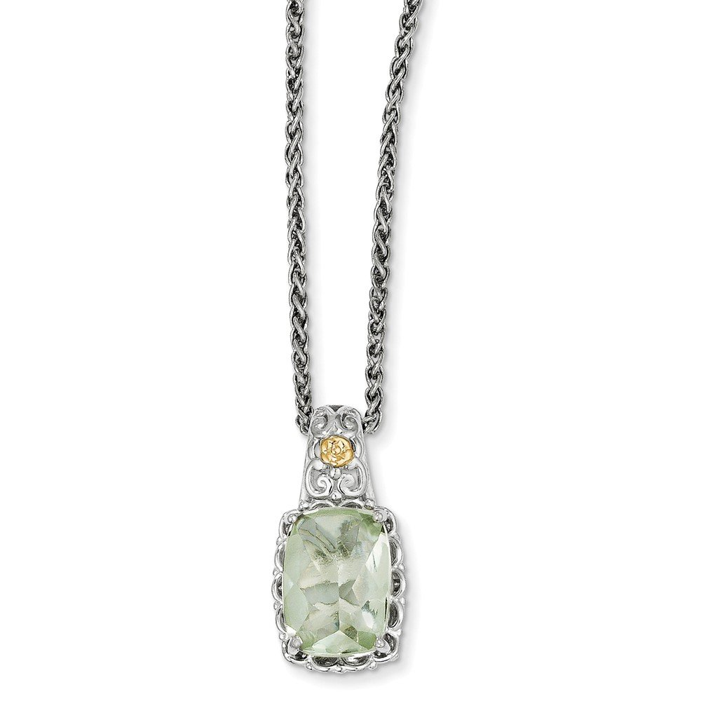 Sterling Silver and 14k gold Green Quartz Necklace 18in