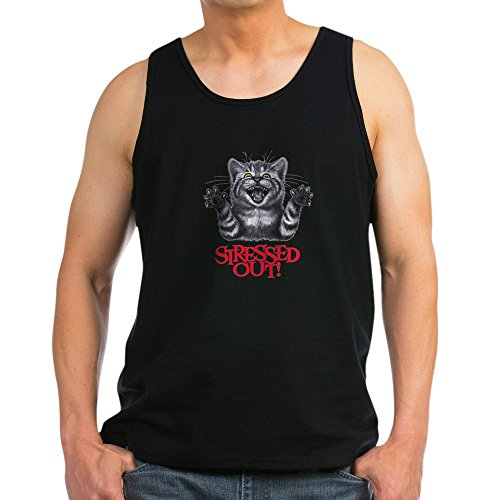Royal Lion Men's Tank Top (Dark) Stressed Out Cat - Black, 2X