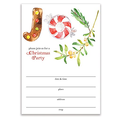 House Invitations Party Gingerbread (Joy Christmas Party Invitations with Envelopes (Pack of 25) Simple Large Blank 5x7 Fill In Any Occasion Celebration Holiday Dinner Cocktail Seasonal Cookie Parties Excellent Value Invites VI0069B)
