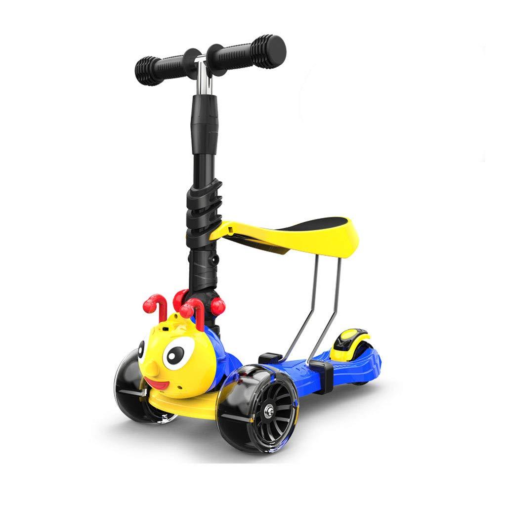 2-8 años de Edad Scooter de Cuatro Ruedas Scooter (Color : B)