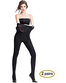 9b6d53841 Opaque Tights Comfortable and Durable Pantyhose for Women 2 Pairs High  Elastic Stockings