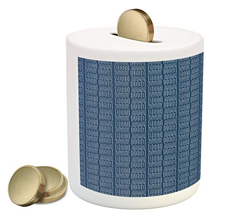 Lunarable Blue and White Piggy Bank, Abstract Basketweave-Like Pattern Dashed Lines Digital Image Print, Printed Ceramic Coin Bank Money Box for Cash Saving, Night Blue and (Basketweave Patio)