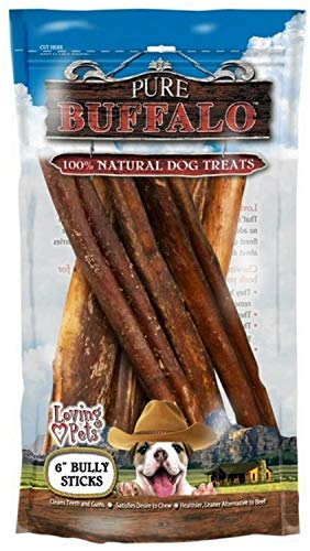 Loving Pets Pure Buffalo Bully Sticks for Dogs, 6 Inch, 6 Count, 2 Pack