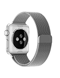 Bonivita Apple Watch Band 38mm 42mm,Milanese Loop Fully Magnetic Clasp Stainless Steel Mesh iWatch Band for Apple Watch Series 3 Series 2 Series 1 Sport & Edition (Silver, 38mm)