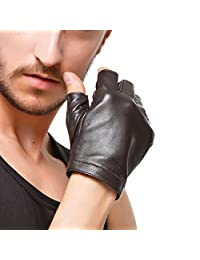 Men Fingerless Gloves - Nappaglo Lambskin Leather Half Finger Driving Outdoor