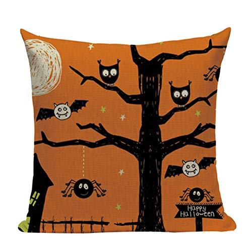 Nunubee Happy Halloween Decorative Throw Pillow Cover Linen Cushion Cover 18x18 Inch - Orange f