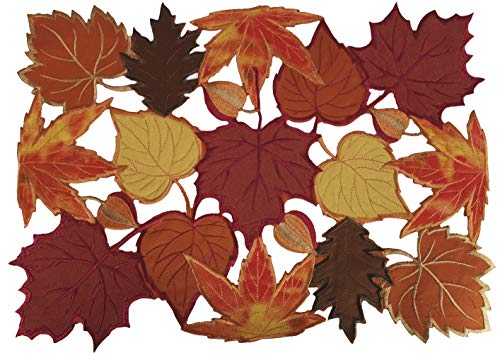 """GRANDDECO Harvest Fall Table Placemat 12""""×18"""" Set of 4, Cutwork with Applique Embroidered Maple Leaves Dresser Scarf Table Topper for Home Dinner Holiday Festival Decoration"""