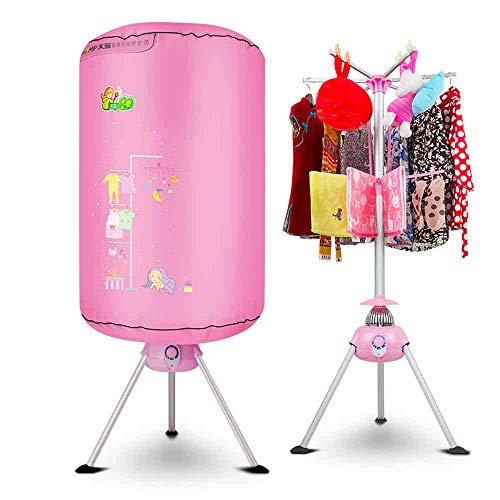 YXGH@ Portable non-porous cloth dryer 900W electric laundry drying rack 33 LB capacity folding disinfection wardrobe with heater automatic timer Dryer (Size : Pink)