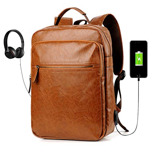 Men's Backpack with USB Leather Waterproof Backpack School College Bookbag Laptop Computer Backpack Leather Travel Bag Extra Capacity Casual Vintage Daypacks (Brown) (Leather Backpack For Men)