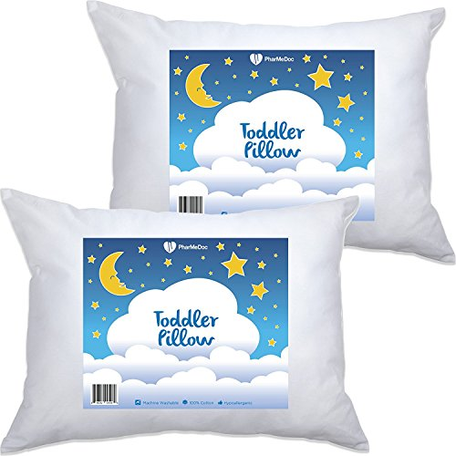 2 Pack- PharMeDoc Toddler Pillow for Children (14x19) - Hypoallergenic & Breathable Little Pillow - Soft & Delicate Cotton - Provides Back & Neck Support - Portable - Perfect As An Adult Travel Pillow (Elmo Sheets Toddler)