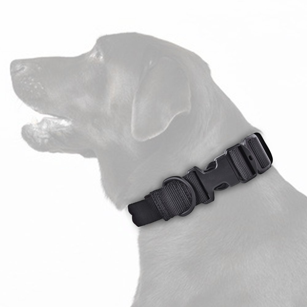 SlowTon Tactical Dog Collar, Adjustable Length Durable Nylon Webbing Strap with Carry Handle, Soft Cover, Metal D Ring and Quick Detach Buckle for Medium Large Dogs Training, Hiking and Woodland Walks