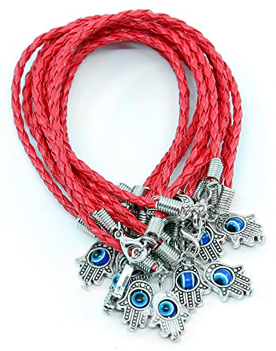 Women's Evil Eye & Hamsa Silver Charm Red String Protection Bracelet - 18 CM BjxnImUN2J