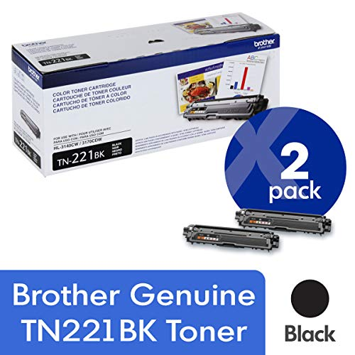 Brother Genuine TN221BK 2-Pack Standard Yield Black Toner Cartridge with Approximately 2,500 Page Yield/Cartridge (Brother Genuine Tn221bk Color Laser Black Toner Cartridge)