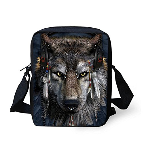 Pouch HUGS Cellphone Messenger IDEA Bag Adjustable Satchel Handbag Wolf Wolf Head Small Shoulder Strap Printed F7OxFrnw