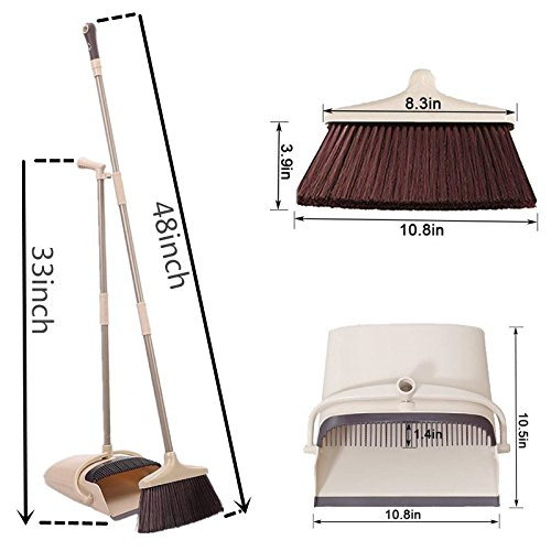 Broom and Dustpan Set, 48 inch Extendable Broom Standing Upright - Wind Proof - Foldable Sweep Set with Soft Bristles & Rubber Edge & Dust Pan with Teeth, Perfect for Kitchen, Garden, Office, etc. by SerBion (Image #1)'