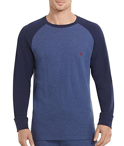 Mens Waffle Knit Tees - Polo Ralph Lauren Waffle Knit T-Shirt, L, Rustic Navy