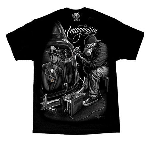 David Gonzales Men's Imagination Al Capone Mafioso Lowrider Chicano DGA Art T Shirt Large Black