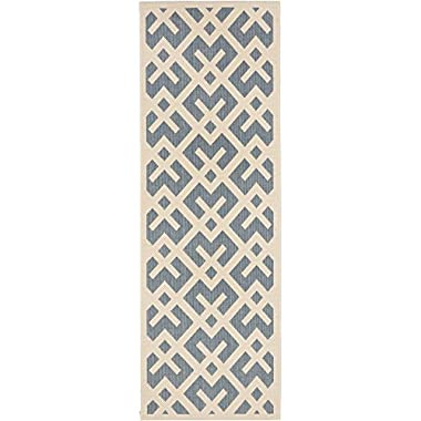 Safavieh Courtyard Collection CY6915-233 Blue and Bone Indoor/ Outdoor Runner, 2 feet 3 inches by 10 feet (2'3  x 10')