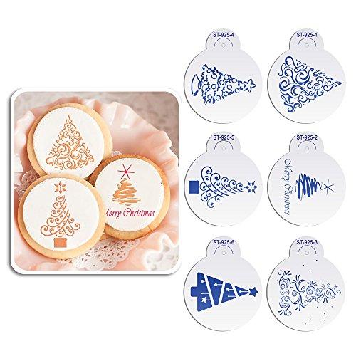 ART Kitchenware 6pcs/set Christmas Tree Cookie Stencil Set for Cakes Sugar Decoration Cookie Mold Reusable Stencils for Painting Beige/Semi-Transparent ST-925S