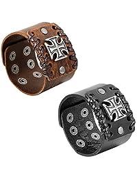 Aroncent 2pcs Vintage Mens Wide Leather Bracelet Cross Punk Rock Biker Adjustable Clasp Black Brown