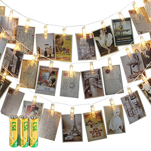 Loyps 50 LED Photo Clips String Lights Holder Indoor Outdoor Fairy Lights for Hanging Photos Pictures Cards Memos Gift for Dorms Bedroom Wedding Party Decoration (Warm White) 3 AA Batteries ()