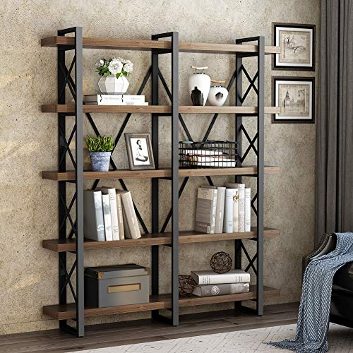 - LITTLE TREE 5-Tier Double Wide Open Bookcase, Industrial Large Metal Bookcases Furniture, Vintage Bookshelf Etagere Book Shelves for Home Office Decor Display, Antique Nutmeg
