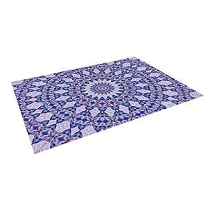 "Kess internos de Iris Lehnhardt ""Kaleidoscope azul círculo azul al aire libre Floor Mat/alfombra, 4por 5pies"