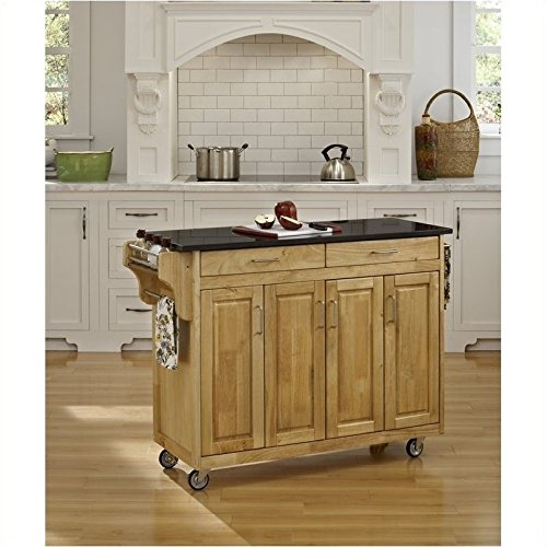 Home Styles 9200-1014 Create-a-Cart 9200 Series Cabinet Kitchen Cart with (Black Natural Kitchen Cart)