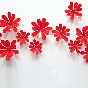 ufengke® 12 Pcs Flores 3D Pegatinas de Pared Diseño de Moda Flores Bricolaje Calcomanías Arte Artesanía Decoración del Hogarr, Rojo