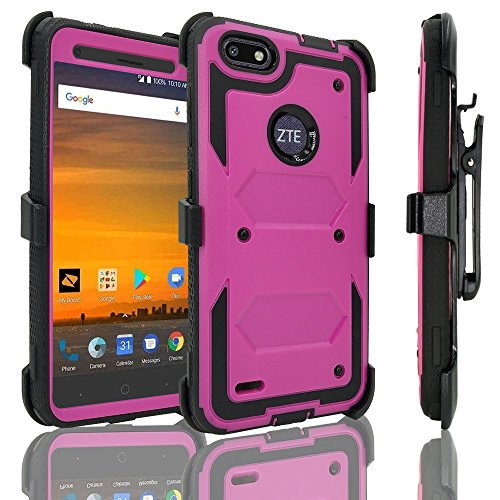 ZTE Blade Force Case with [Tempered Glass Screen Protector], Customerfirst [Heavy Duty] Dual Layer [Belt Clip] Holster [Kickstand] Combo Rugged Case For ZTE Blade Force N9517 - Polycarbonate Tempered Vs Glass