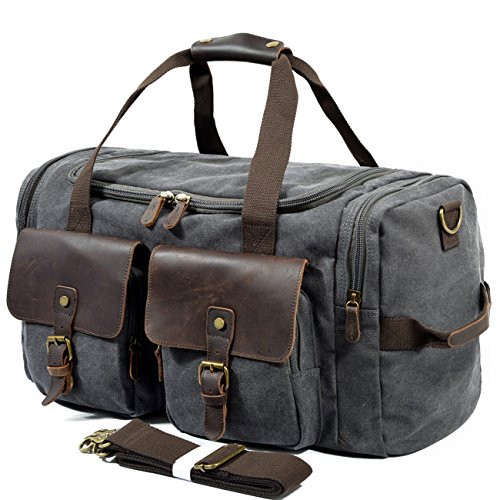 SUVOM Weekender Duffle Bag Canvas Leather Travel Luggage Oversized Holdalls (Dark grey)