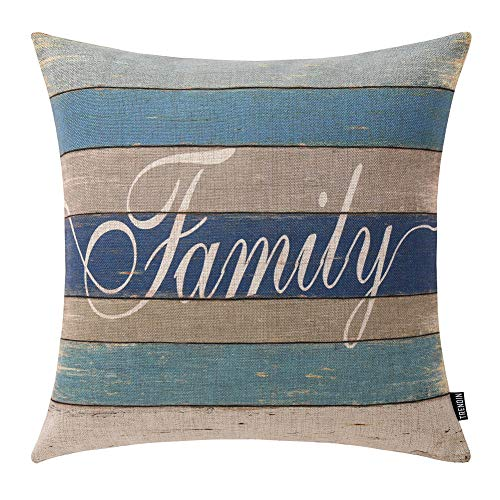 TRENDIN Throw Pillow Case Lake House Family Weathered Wood in Blue Colour Cotton Linen Square Cushion Cover Standard Pillowcase 18 x 18 inch PL254TR