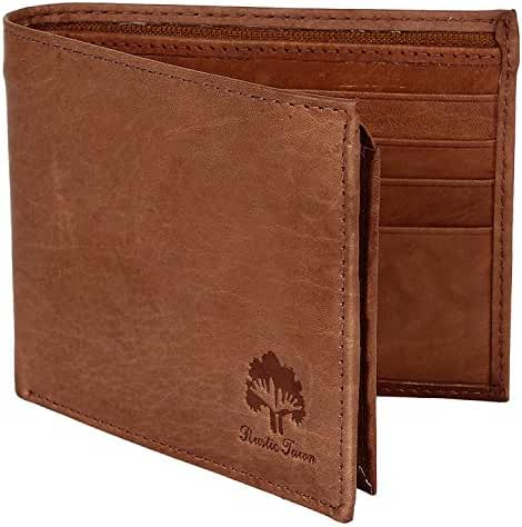 Handmade RFID Blocking Genuine Leather Bifold Zippered Wallets with Coin Pocket Designer Engraved Fashion with Card Pockets for Cash Bills By Rustic Town ~ Gift for Teen Boys Girls Men Women