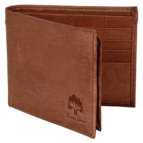 Handmade RFID Blocking Genuine Leather Bifold Zippered Wallets with Coin Pocket Designer Engraved Fashion with Card Pockets for Cash Bills By Rustic Town ~ Gift for Teen Boys Girls Men Women ( Tan )