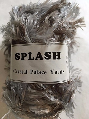 (Crystal Palace Splash #7184 Silver Fox - Silver, Taupe Feather Boa Short Eyelash Yarn 100 Gram 85 Yards)