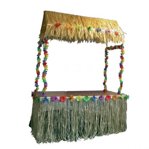 Nylon Tiki Table Skirt (108in x 29in) - Tropical Hawaiian Party Decorations by Party Packs Partyrama HN08251-CHNA-tblsk