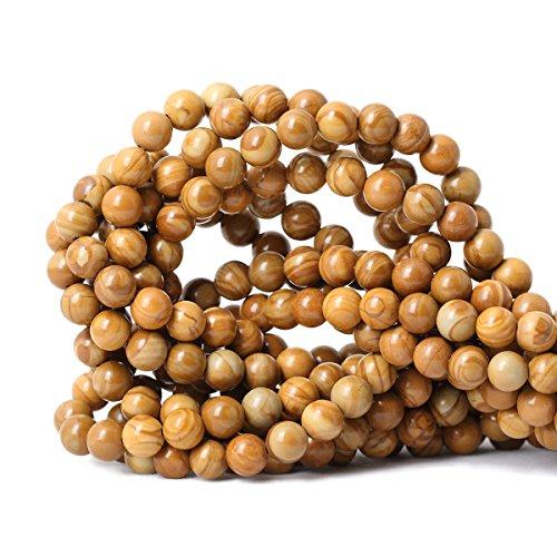 Jasper Round Beads - Qiwan 45PCS 8mm Natural Woodgrain Jasper Gemstone Round Loose Beads for DIY Jewelry Making Crafts Design materials 1 Strand 15