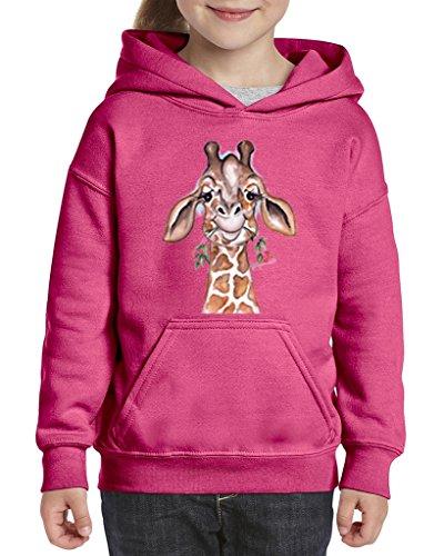 Acacia Giraffe Unisex Hoodie For Girls and Boys Youth Sweatshirt Medium Azalea Pink (Azalea Apparel)