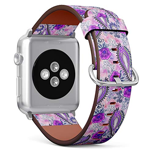 (Compatible with Small Apple Watch 38mm & 40mm Leather Watch Wrist Band Strap Bracelet with Stainless Steel Clasp and Adapters (Paisley Scalloped Edges))