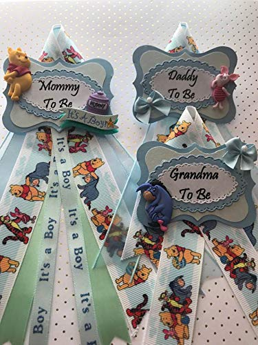 Blue Winnie The Pooh Theme, Bear Mommy, Daddy, and Grandma To Be Baby Shower Corsage Pin,Winnie the Pooh Theme Baby Shower]()