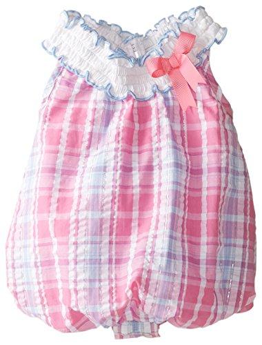 Rare Editions Baby Baby-Girls Newborn Fuchsia Plaid Seersucker Bubble Onesie, Multi Colored, 3 Months