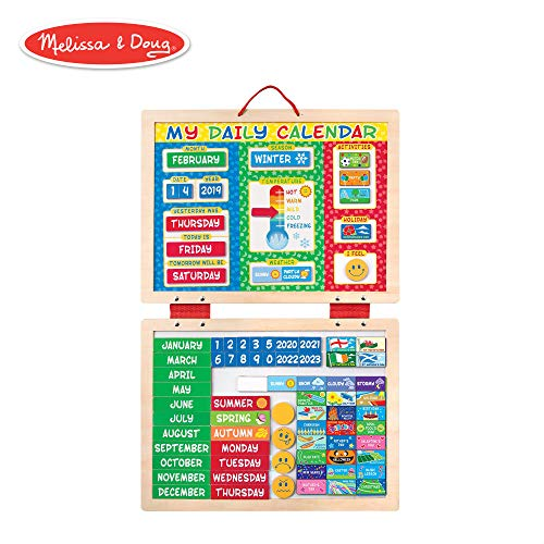 - Melissa & Doug My Magnetic Daily Calendar, Seasonal & Religious (Daily Magnetic Calendar, Fabric-Hinged Dry-Erase Boards, 12