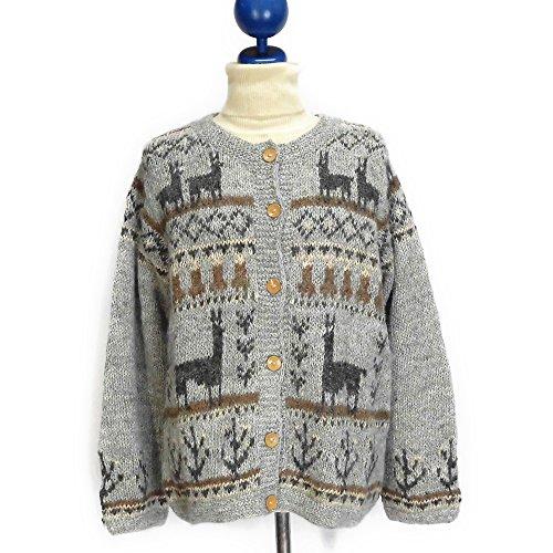 手紡ぎアルパカ100%の高級手編みカーディガン (グレイ)