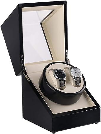 Watch Winder,Cajas giratorias para Relojes Estuche Doble Caja de enrollador automático de Cuero, Caja de Almacenamiento 2 Relojes de Pulsera, Caja de Reloj de Pintura Negra, m: Amazon.es: Relojes