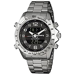 INFANTRY Big Face Mens Military Tactical Watch Silver Stainless Steel Wrist Watches for Men