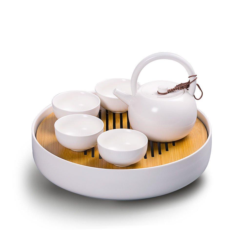 Newchinaroad Dehua Ware White Lifting Handle Tea Set - Handmade Chinese Kungfu Tea Set - Porcelain Teapot & Teacups & Ceramic Tea Tray