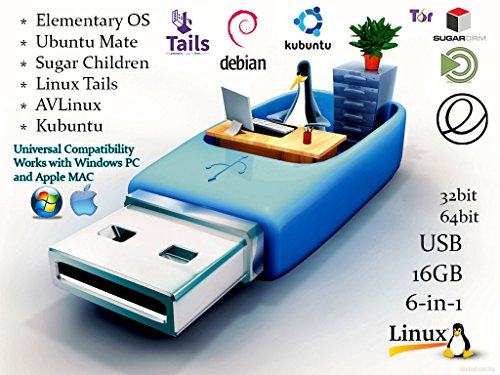 Linux 6-in-1 Operating Systems Collection Install / Recovery MultiBoot Bootable USB Flash Thumb Drive for PCs and MAC Multi 1 Pc