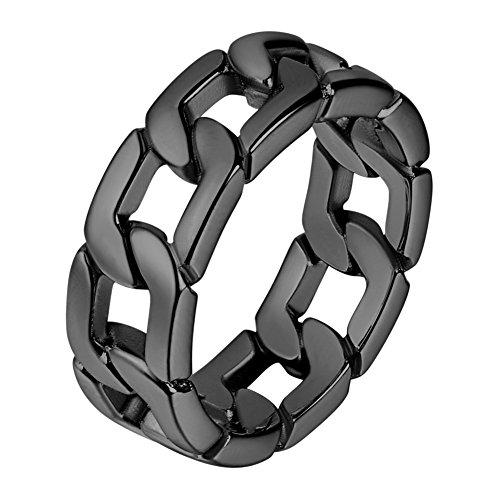 U7 Men Cool Black Gun Plated 7mm Wide Band Cuban Link Chain Ring (Size 9)