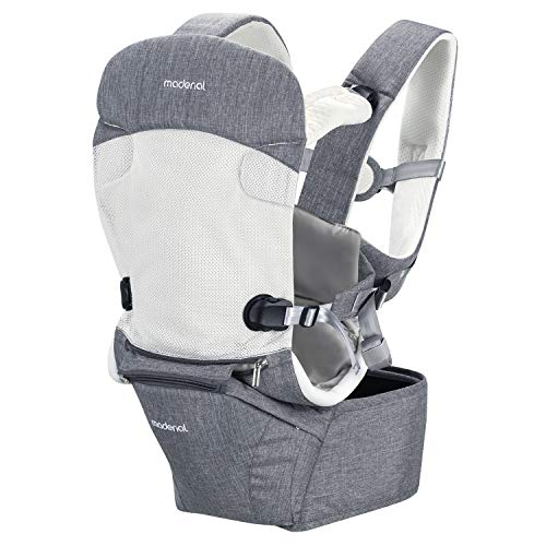 MADENAL 360º Ergonomic Baby Carrier with Hip Seat, [7 Positions for All Seasons], [for 3 – 36 Months Baby], [Adjustable Normal to Oversize for The Carrier], Breathable Waistband and Effortless – Gray