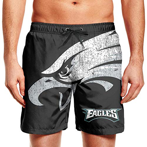 Bquiyesg Philadelphia Eagles Distressed Logo Men Physique Sports Slim Fit Shorts ()